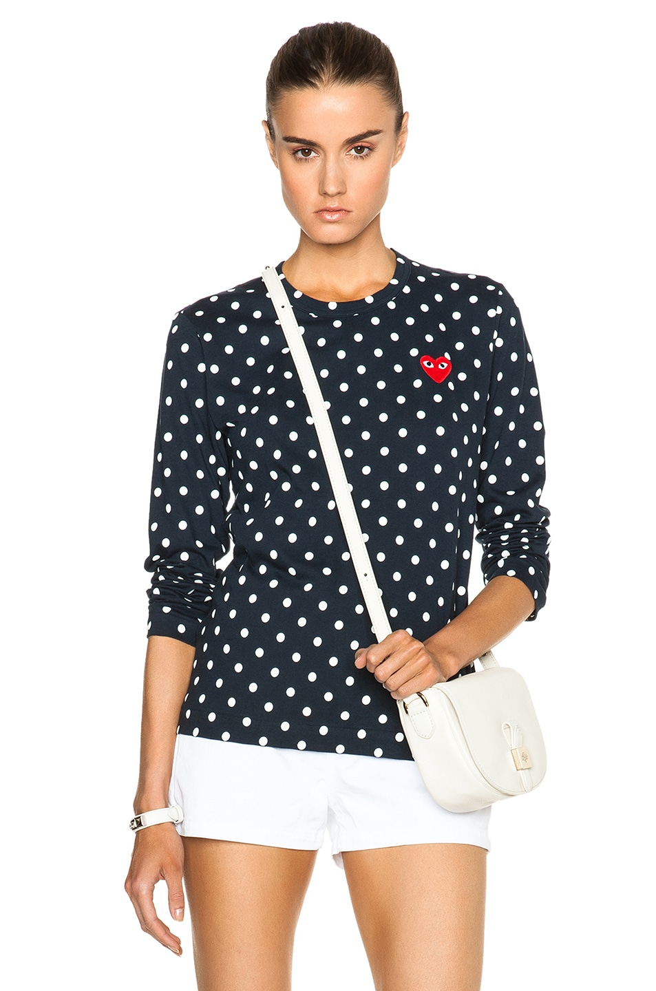 Image 1 of Comme Des Garcons PLAY Cotton Red Emblem Dot Tee in Navy
