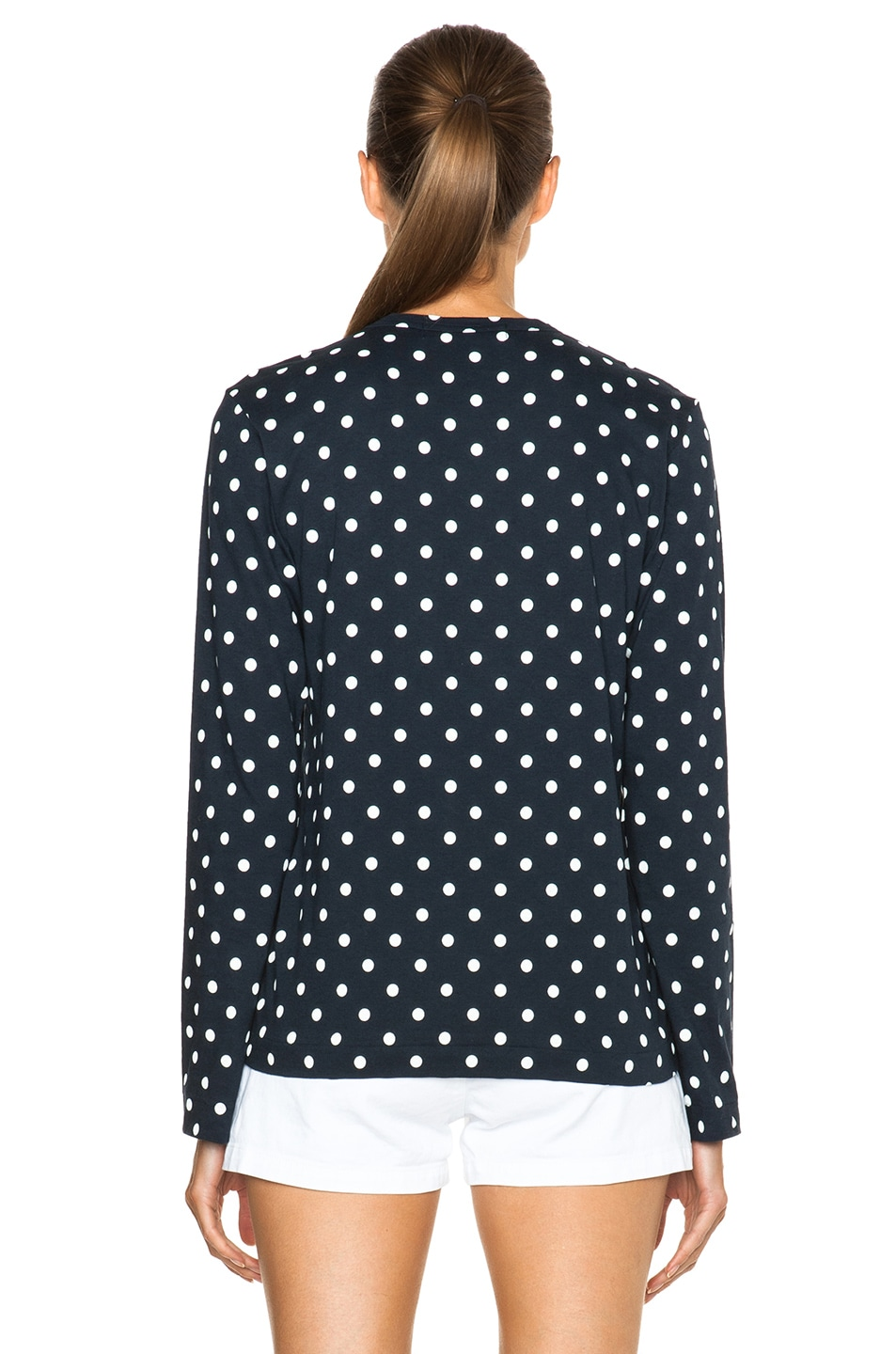 Image 4 of Comme Des Garcons PLAY Cotton Red Emblem Dot Tee in Navy