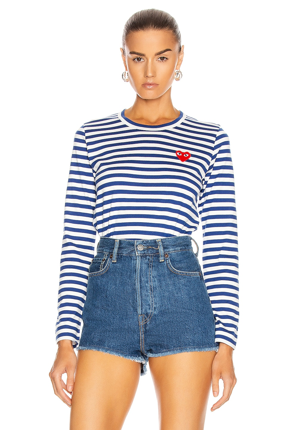 Image 1 of Comme Des Garcons PLAY Striped Cotton Red Heart Tee in Royal Blue