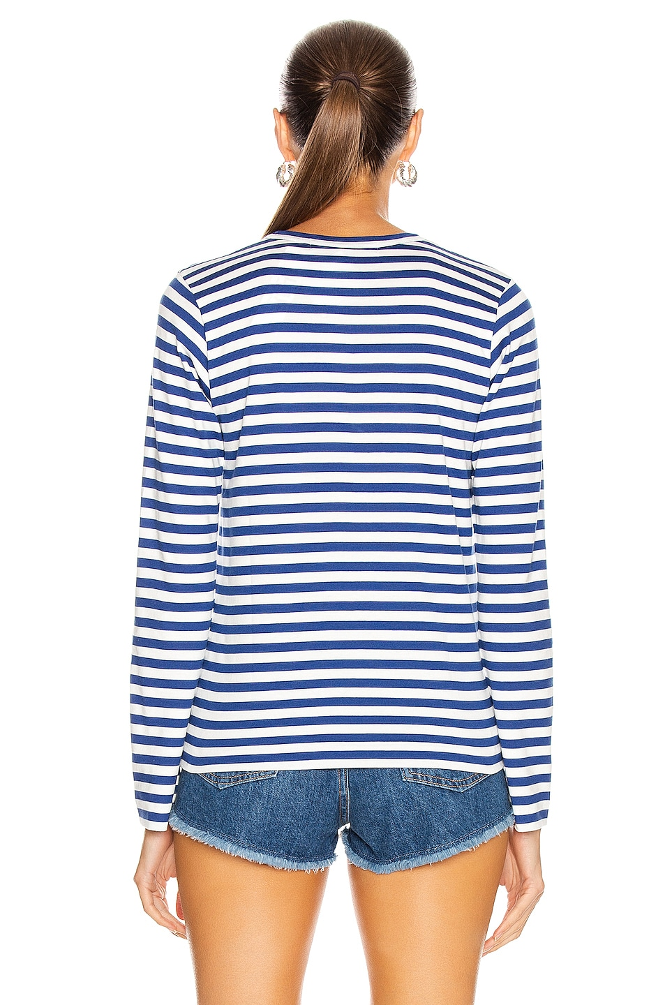 Image 3 of Comme Des Garcons PLAY Striped Cotton Red Heart Tee in Royal Blue
