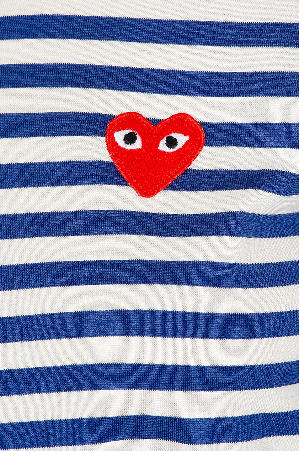 Image 5 of Comme Des Garcons PLAY Striped Cotton Red Heart Tee in Royal Blue
