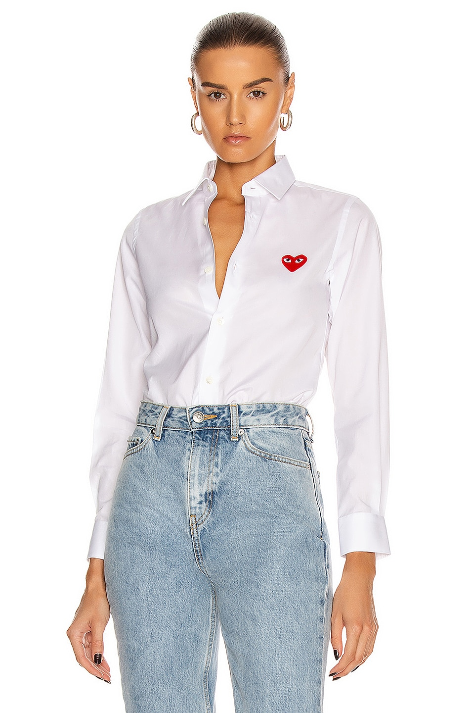 Image 1 of Comme Des Garcons PLAY Cotton Button Down with Red Emblem in White