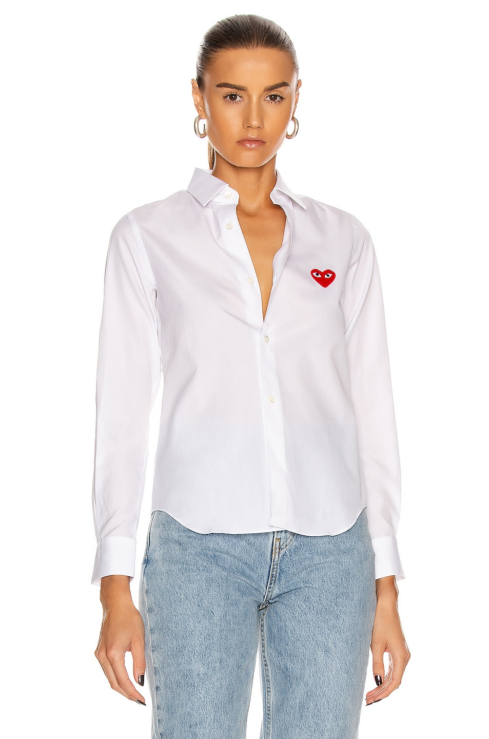 Image 2 of Comme Des Garcons PLAY Cotton Button Down with Red Emblem in White
