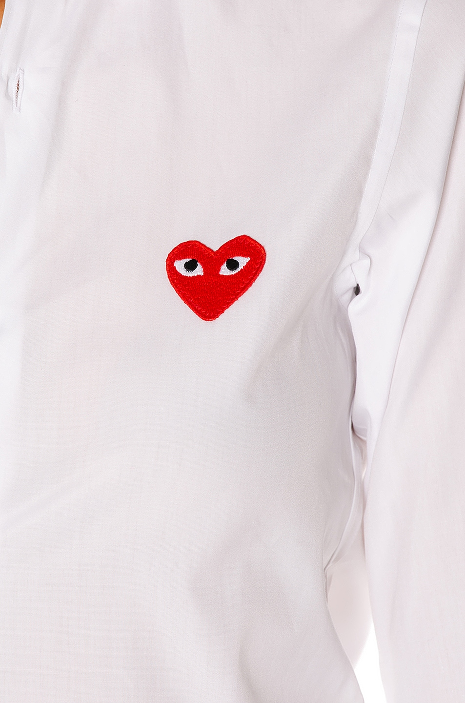 Image 5 of Comme Des Garcons PLAY Cotton Button Down with Red Emblem in White
