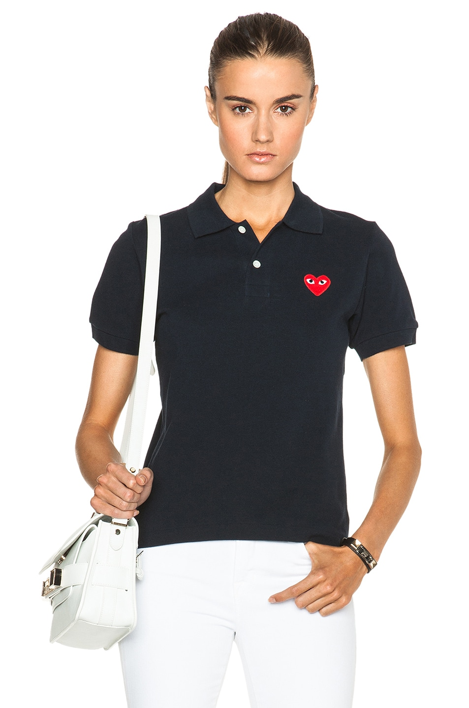Image 1 of Comme Des Garcons PLAY Cotton Polo with Red Emblem in Navy