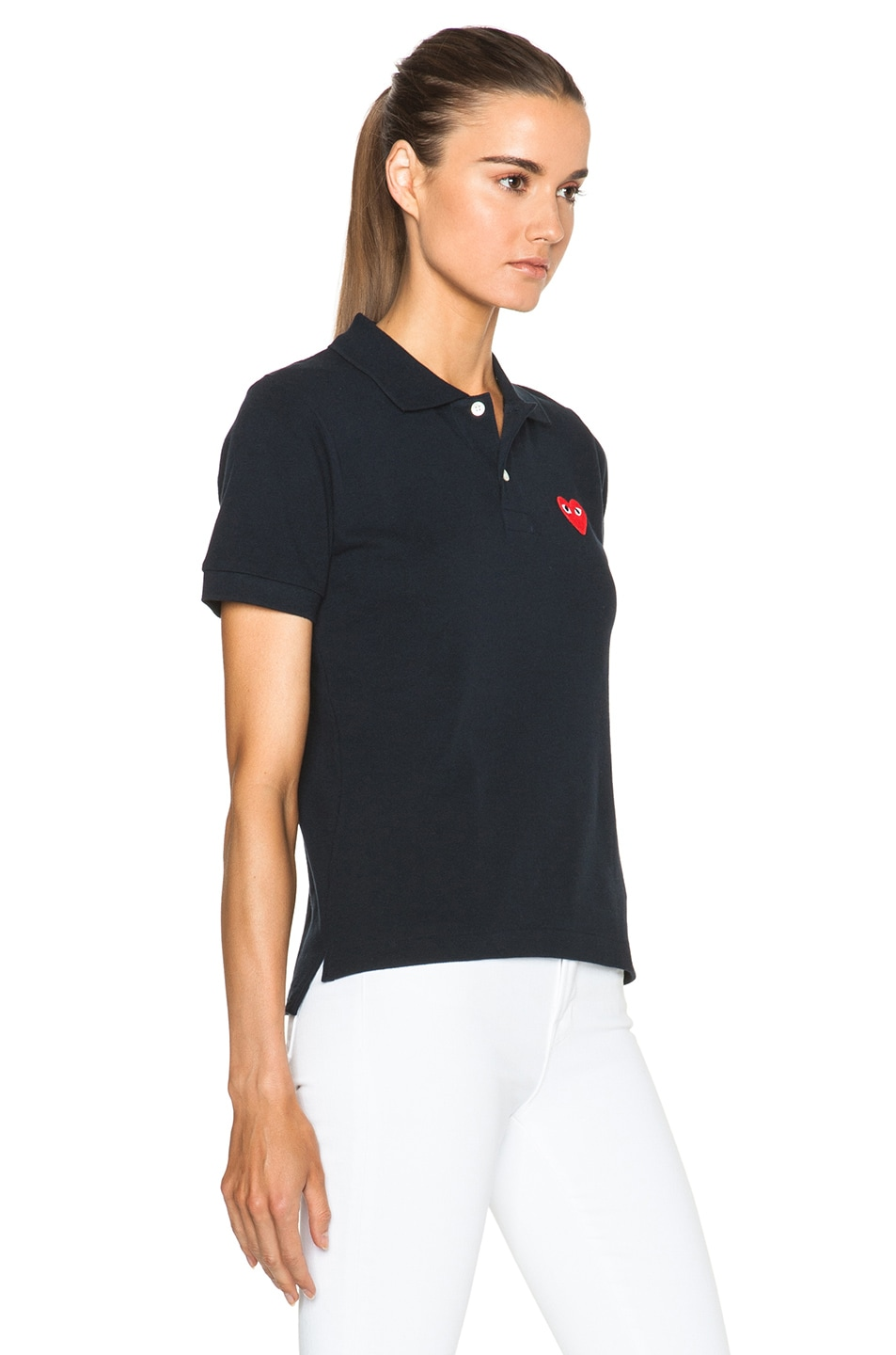 Image 3 of Comme Des Garcons PLAY Cotton Polo with Red Emblem in Navy