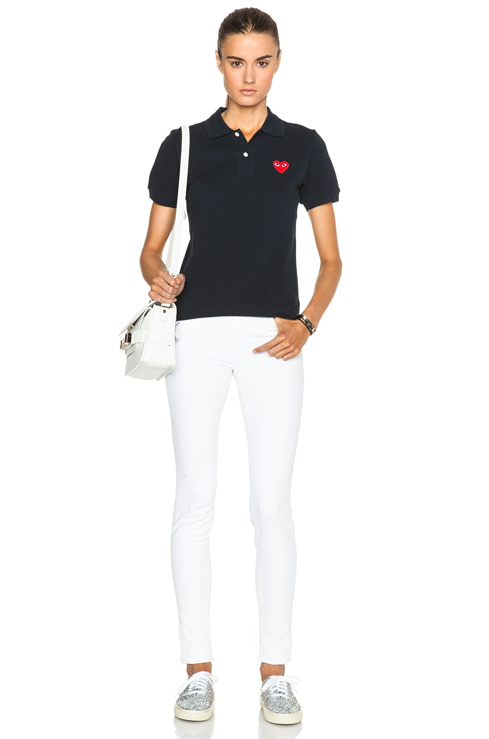 Image 5 of Comme Des Garcons PLAY Cotton Polo with Red Emblem in Navy