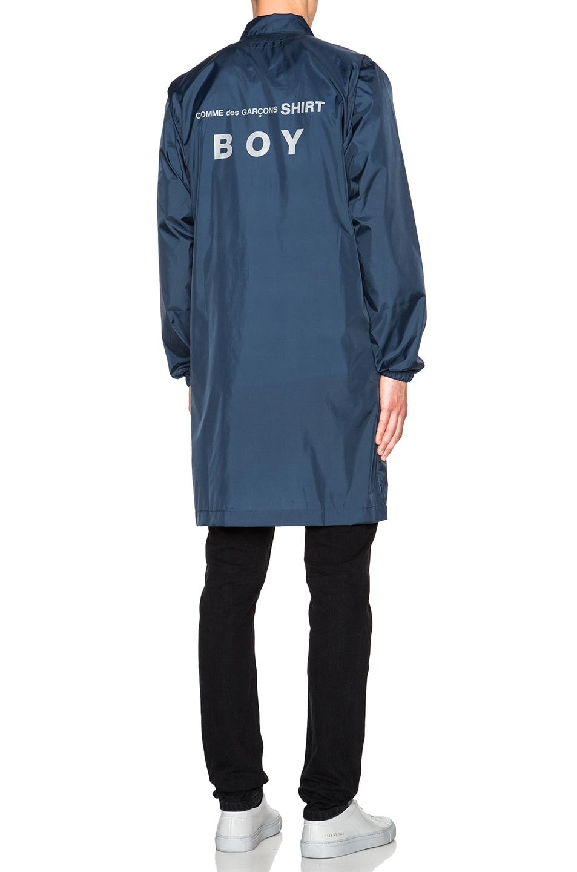 Image 1 of Comme Des Garcons SHIRT Nylon Long Logo Jacket in Navy