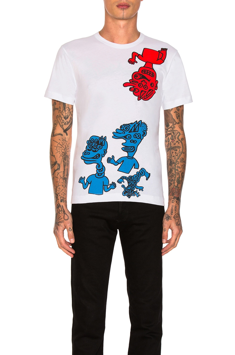 Image 1 of Comme Des Garcons SHIRT Cotton Jersey T-Shirt in White Print A