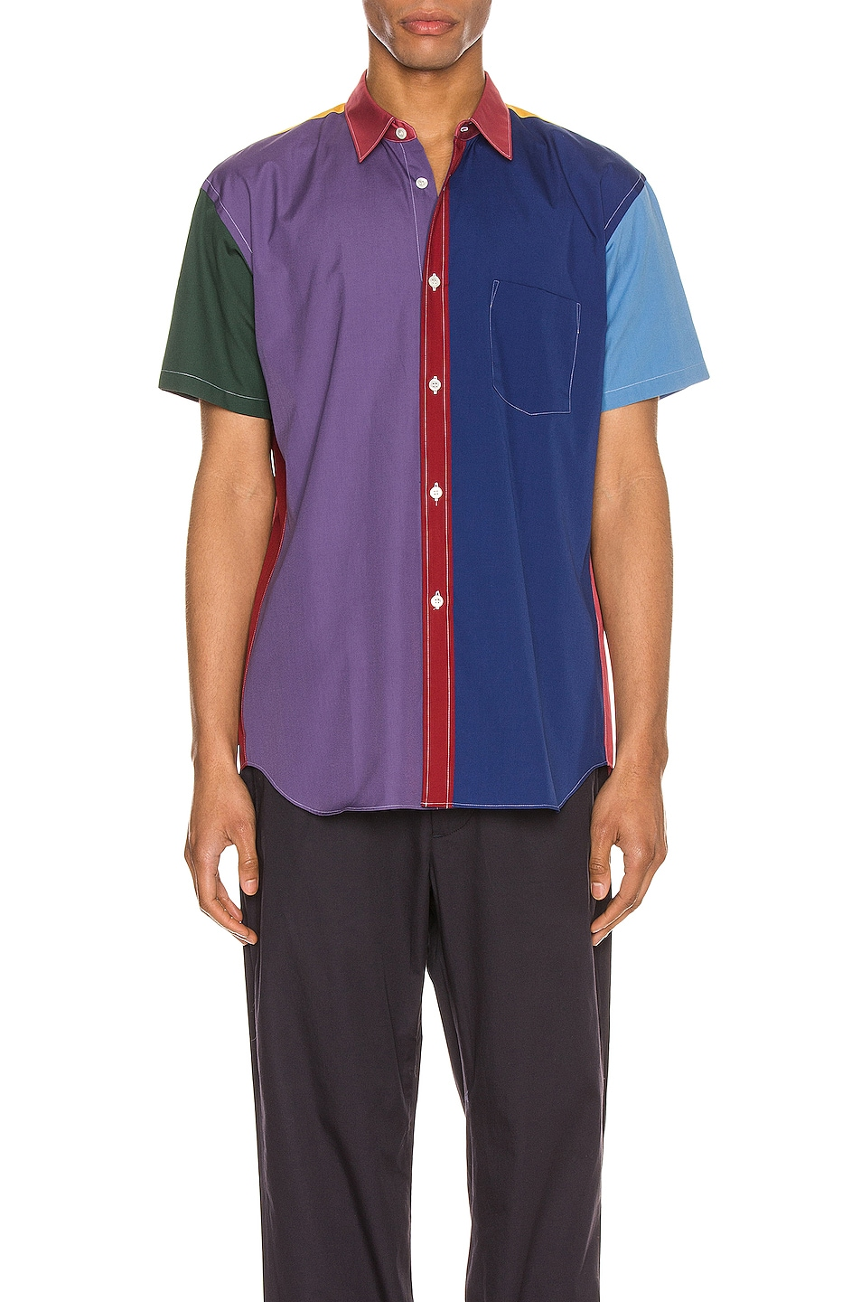 Image 1 of Comme Des Garcons SHIRT Short Sleeve Shirt in Red & Mix