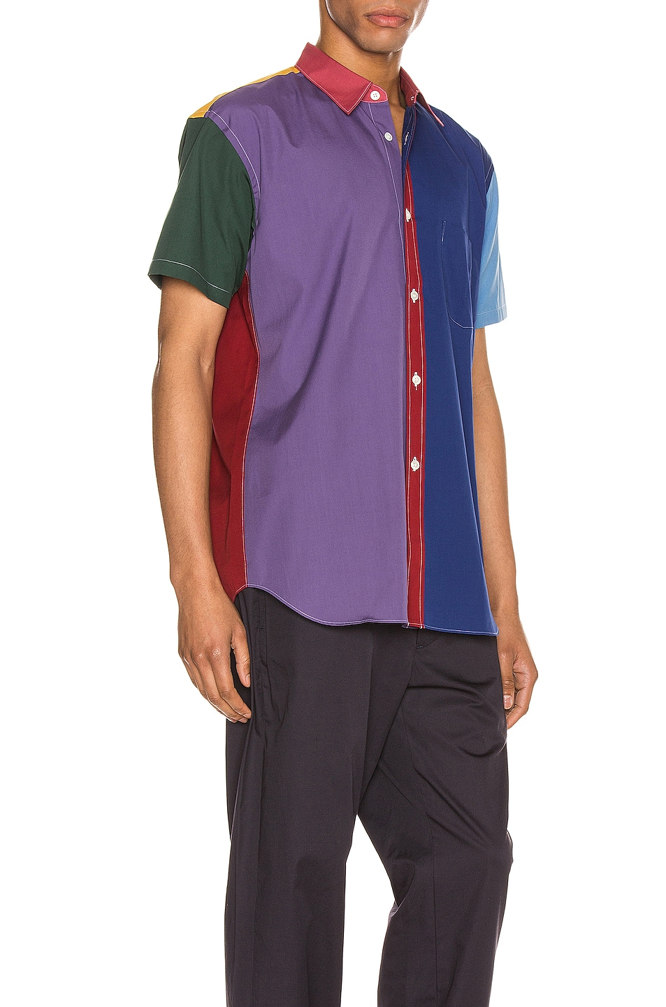 Image 2 of Comme Des Garcons SHIRT Short Sleeve Shirt in Red & Mix