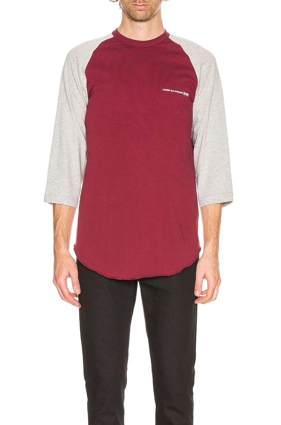 Image 1 of Comme Des Garcons SHIRT Logo Tee in Grey & Burgundy