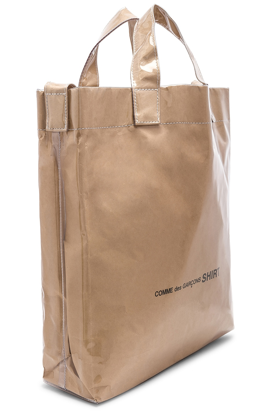 Image 3 of Comme Des Garcons SHIRT PVC Messenger Tote in Kraft
