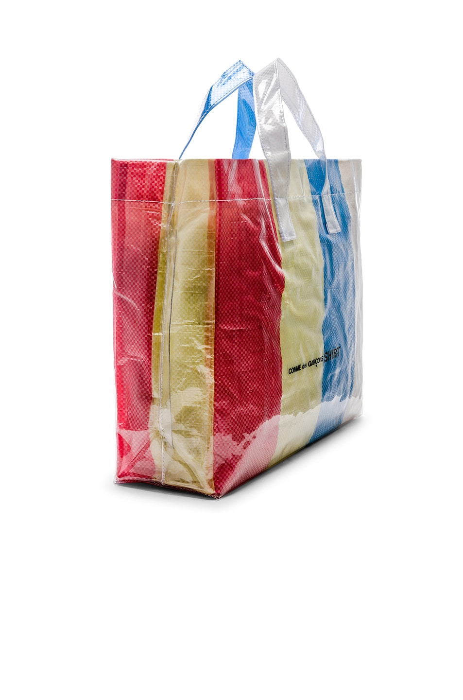 Image 3 of Comme Des Garcons SHIRT PVC Picnic Tote in Red & Yellow & Blue