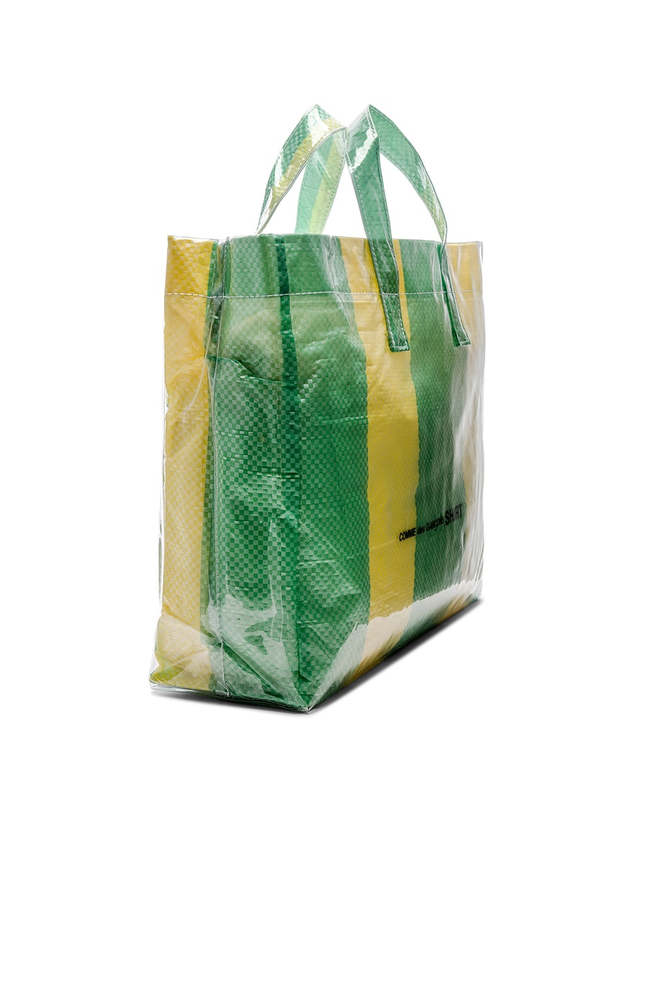 Image 3 of Comme Des Garcons SHIRT PVC Picnic Tote in Yellow & Green