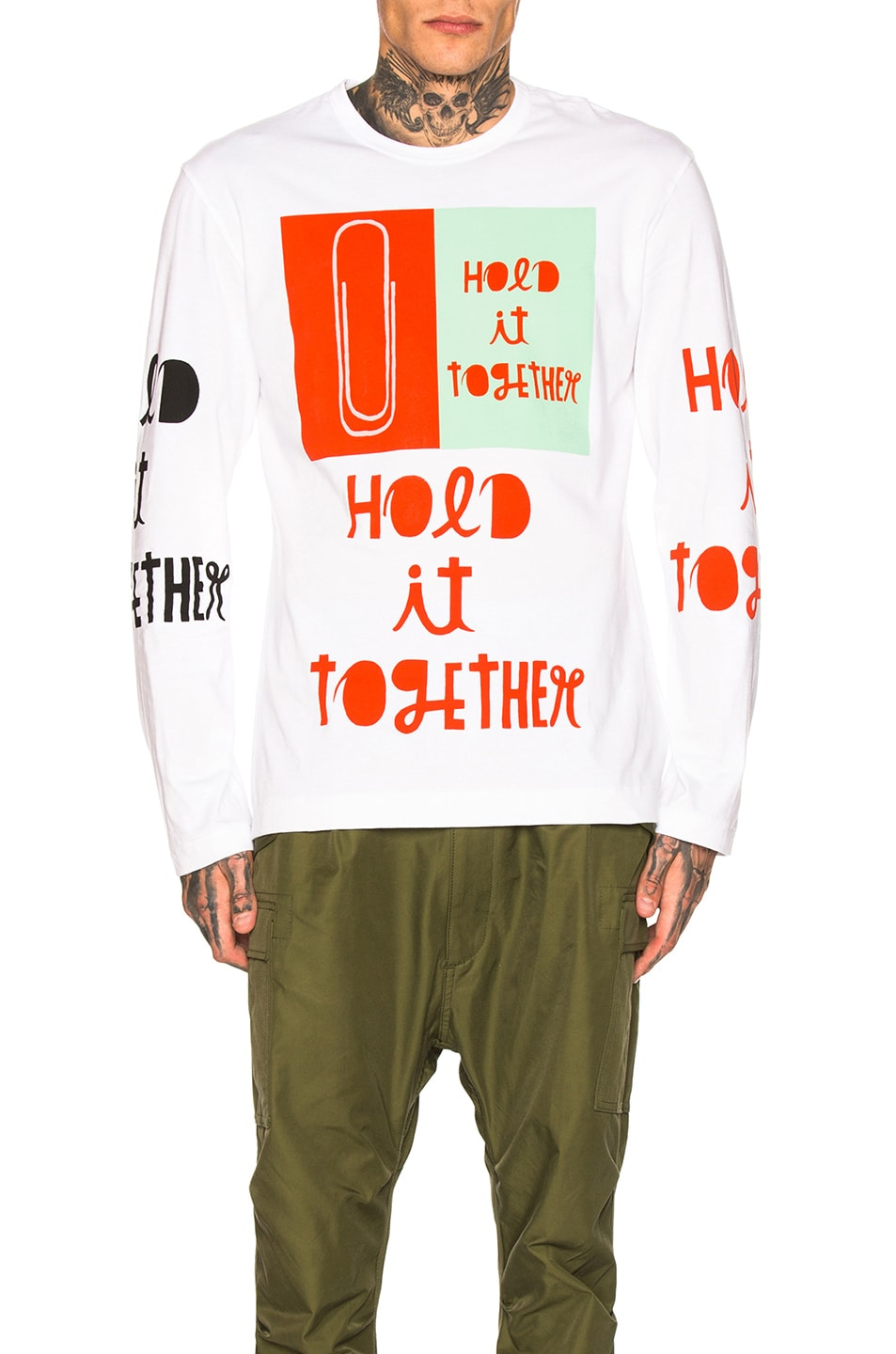 Image 1 of Comme Des Garcons Homme Plus Long Sleeve Printed Tee in White