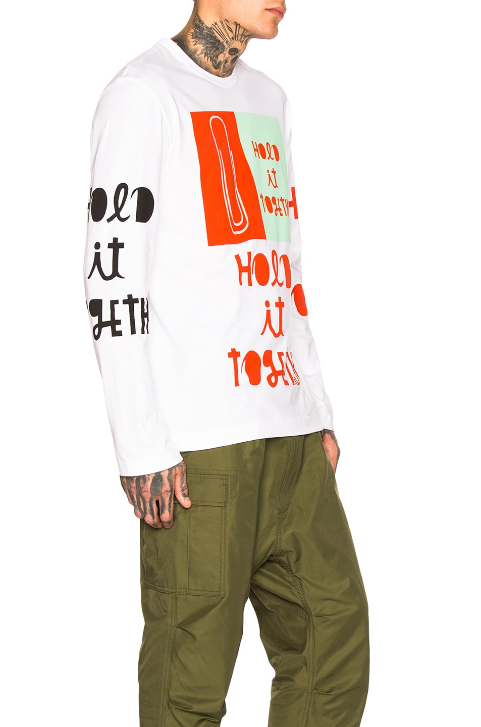 Image 2 of Comme Des Garcons Homme Plus Long Sleeve Printed Tee in White