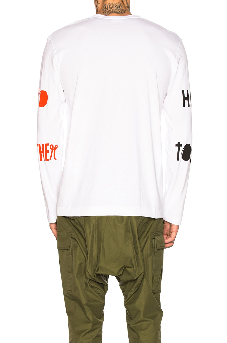 Image 4 of Comme Des Garcons Homme Plus Long Sleeve Printed Tee in White