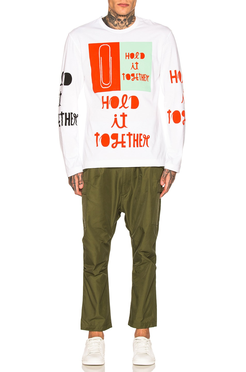 Image 5 of Comme Des Garcons Homme Plus Long Sleeve Printed Tee in White