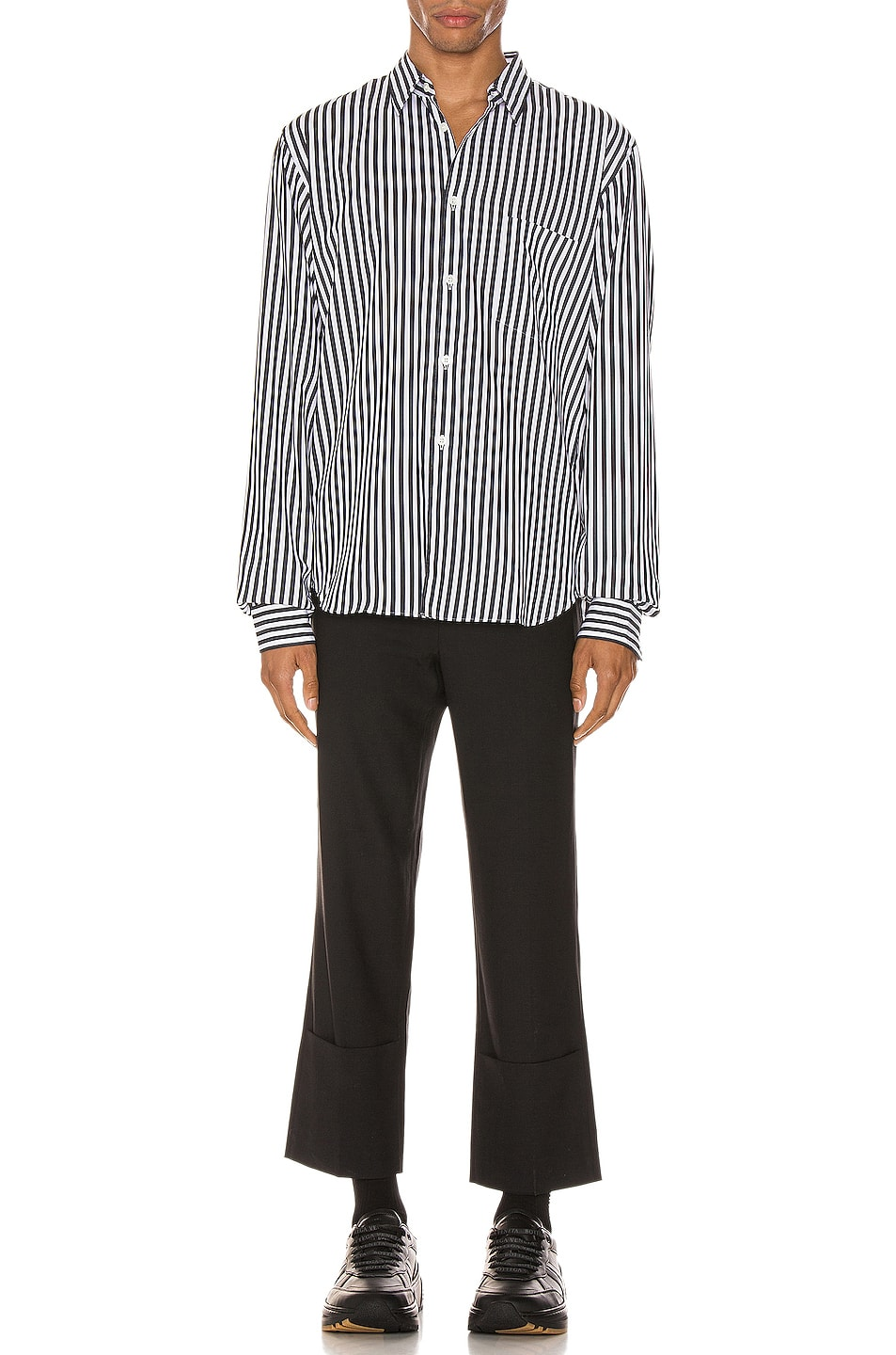 Image 4 of Comme Des Garcons Homme Plus Exaggerated Long Sleeve Shirt in H Pattern