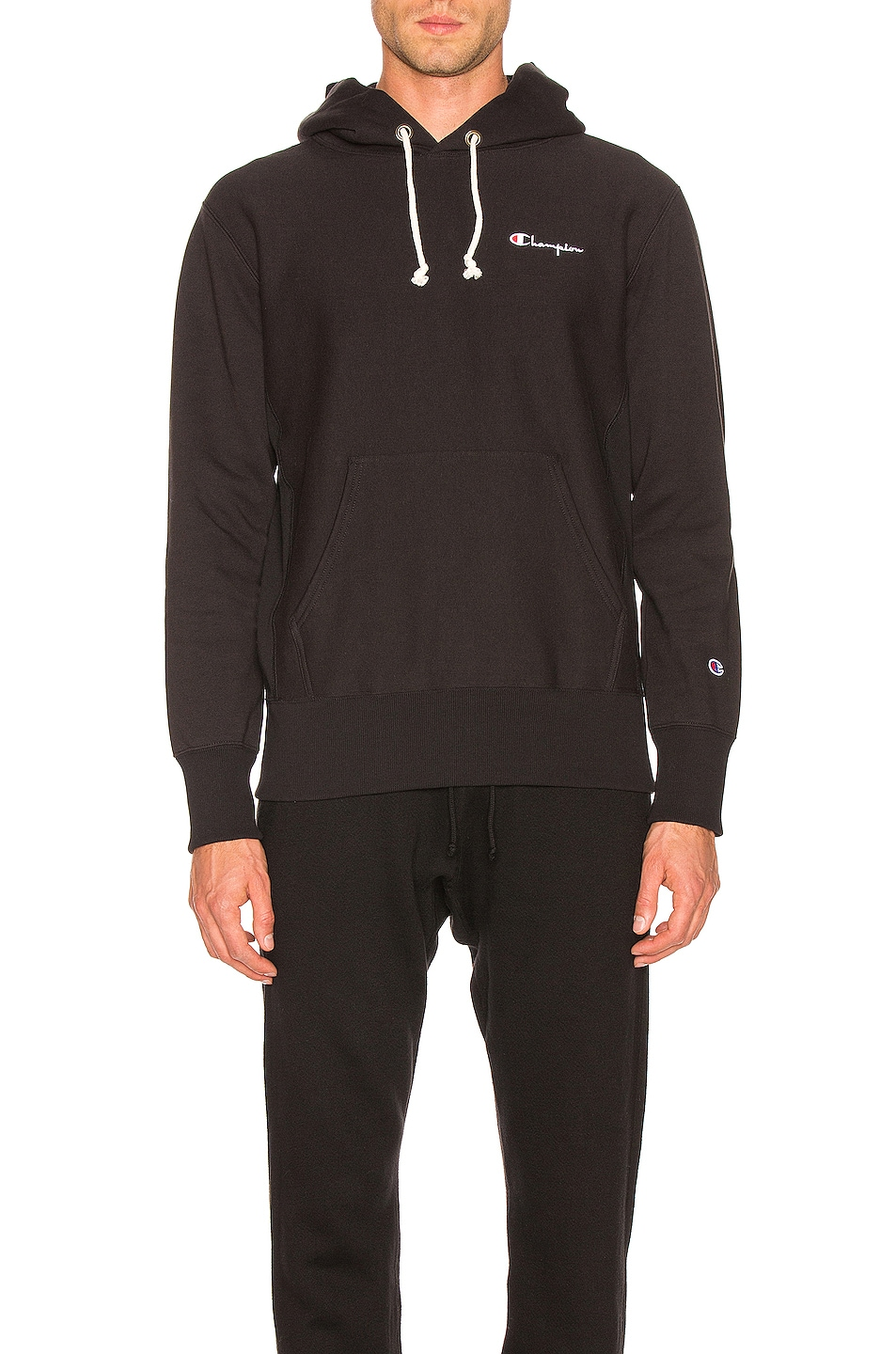 Image 1 of Champion Reverse Weave Champion Hooded Sweatshirt in Black