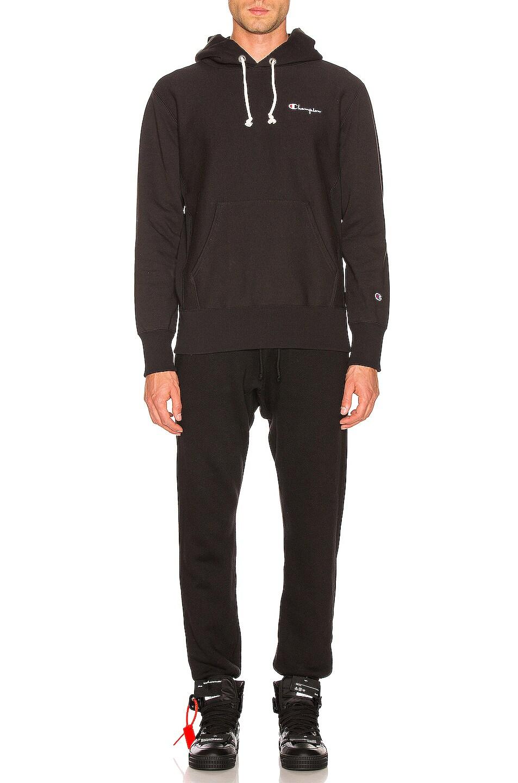Image 4 of Champion Reverse Weave Champion Hooded Sweatshirt in Black