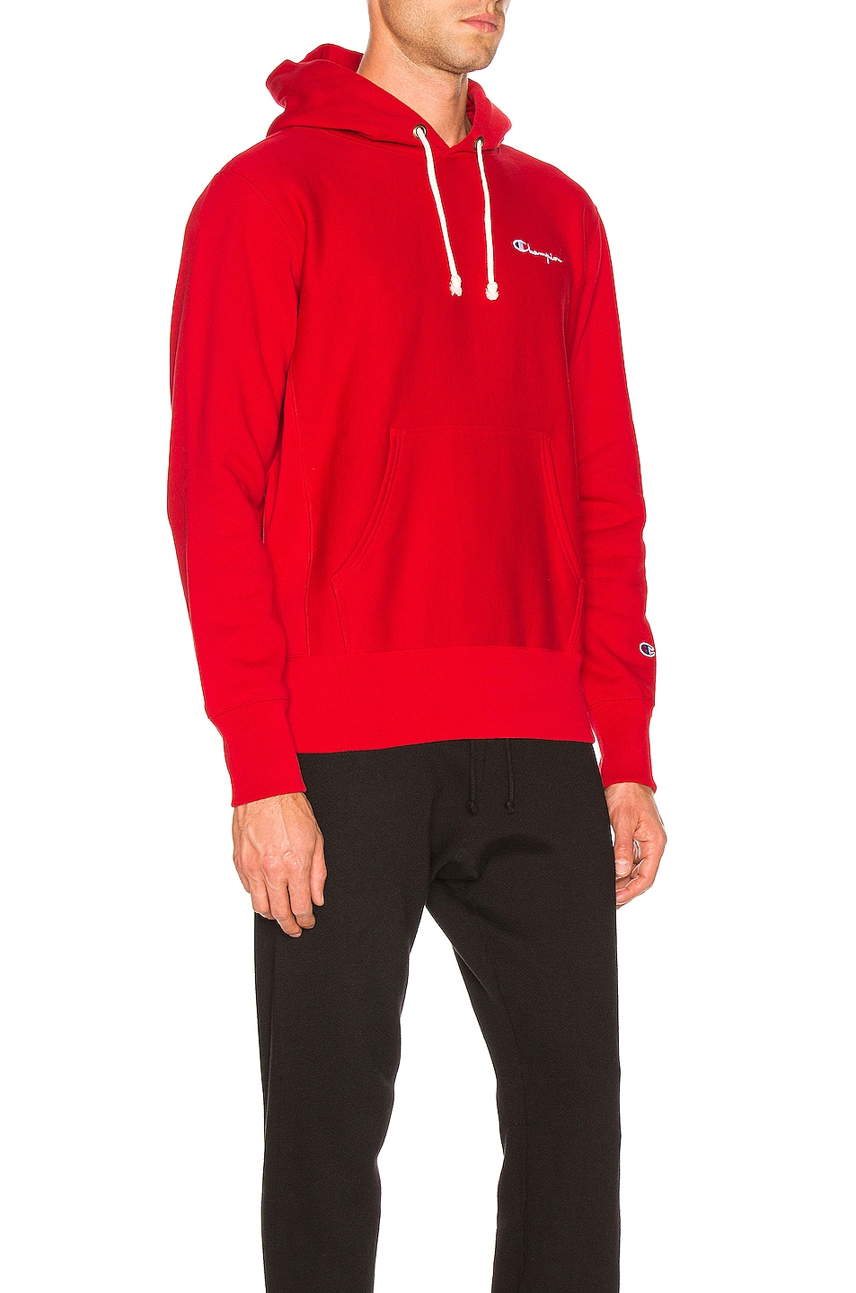 Image 2 of Champion Reverse Weave Champion Hooded Sweatshirt in Red