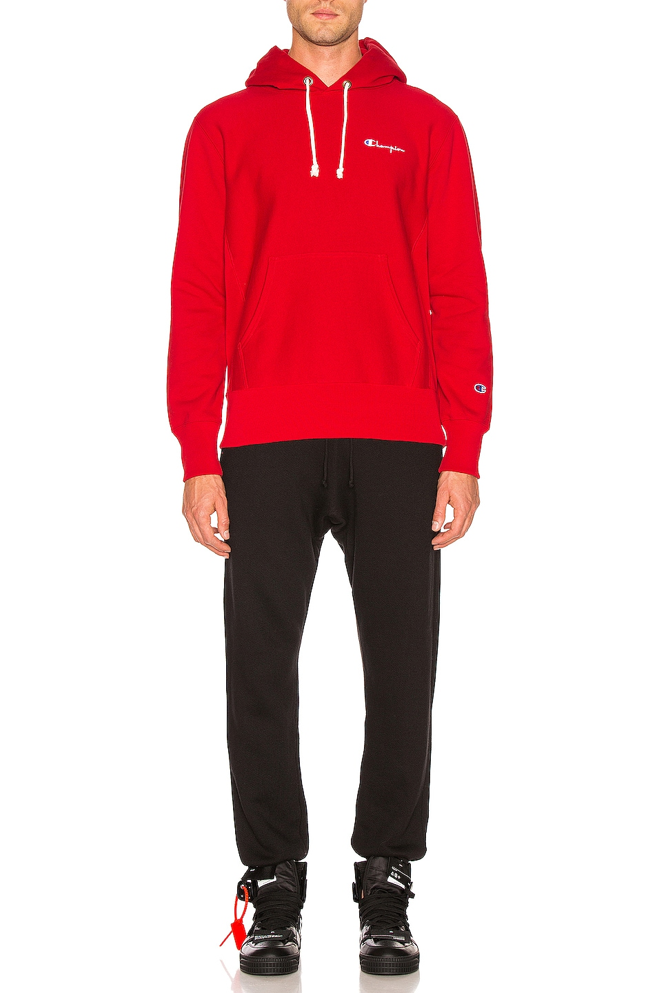 Image 4 of Champion Reverse Weave Champion Hooded Sweatshirt in Red
