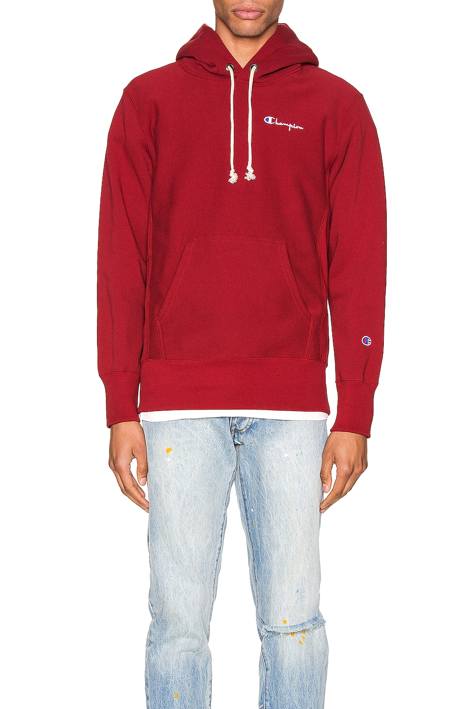 Image 1 of Champion Reverse Weave Small Script Hooded Sweatshirt in Scarlet