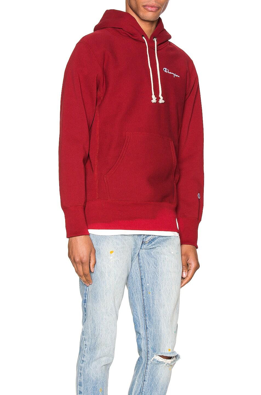 Image 2 of Champion Reverse Weave Small Script Hooded Sweatshirt in Scarlet