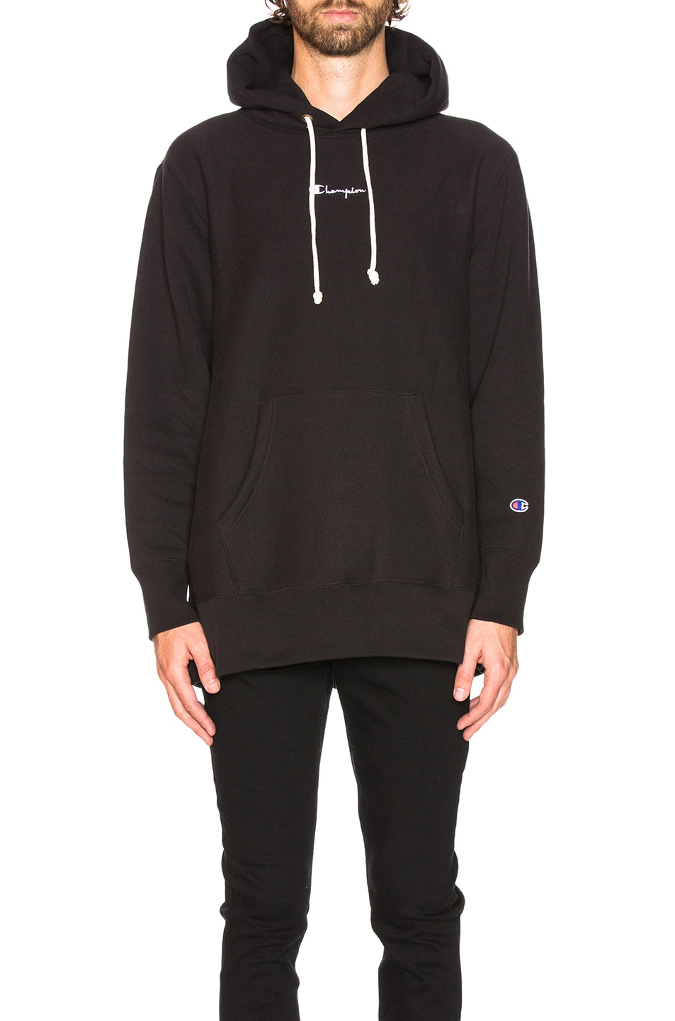 Image 1 of Champion Reverse Weave Oversized Hooded Sweatshirt in Black
