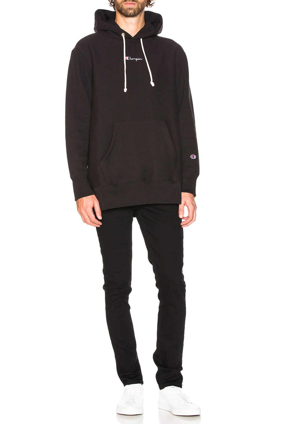 Image 4 of Champion Reverse Weave Oversized Hooded Sweatshirt in Black
