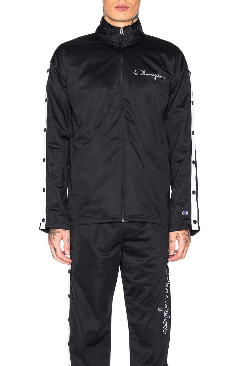 Image 2 of Champion Reverse Weave Champion Full Zip Jacket in Black & White