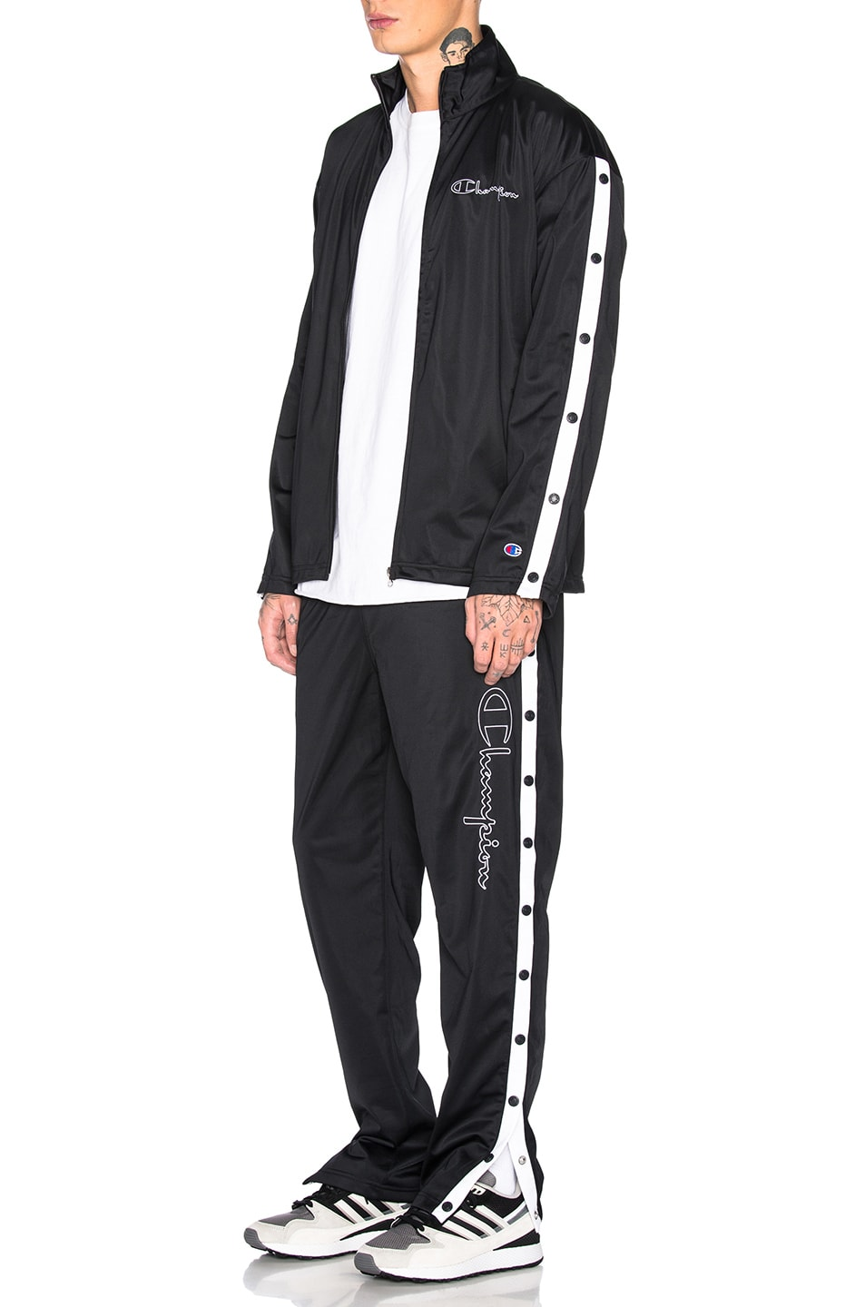 Image 5 of Champion Reverse Weave Champion Full Zip Jacket in Black & White