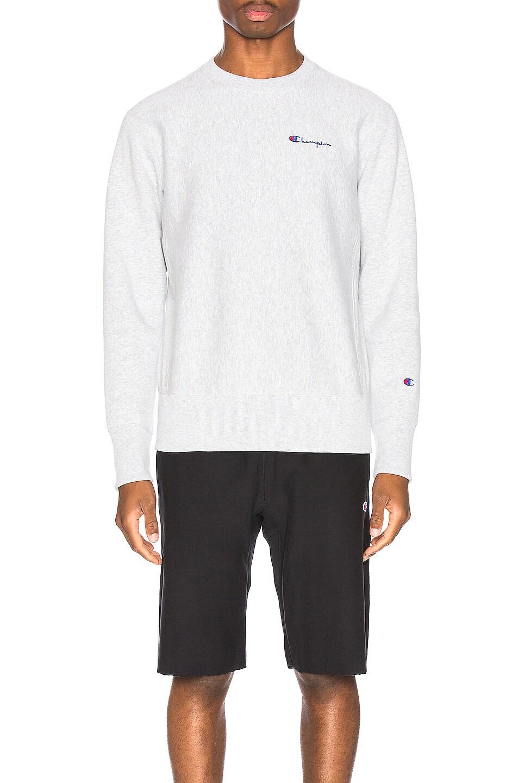 Image 1 of Champion Reverse Weave Small Script Sweatshirt in Grey