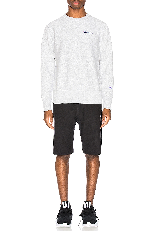 Image 4 of Champion Reverse Weave Small Script Sweatshirt in Grey