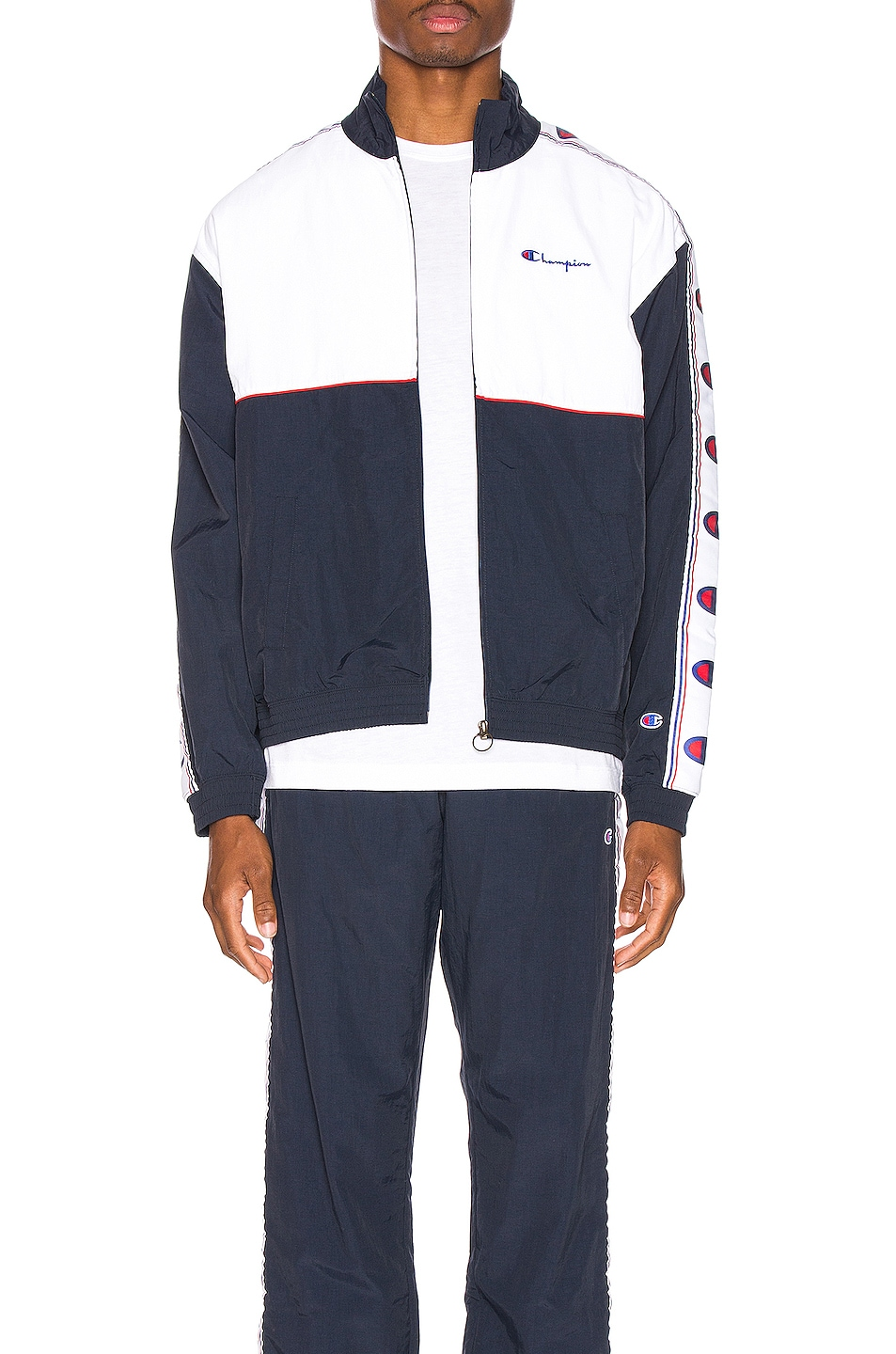 Image 1 of Champion Reverse Weave Full Zip Top in Navy & White & Red