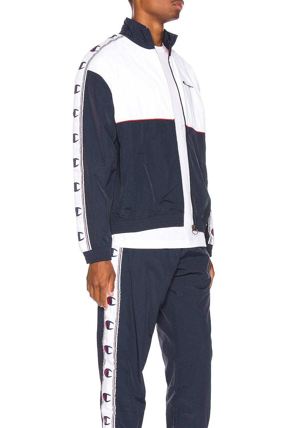 Image 3 of Champion Reverse Weave Full Zip Top in Navy & White & Red