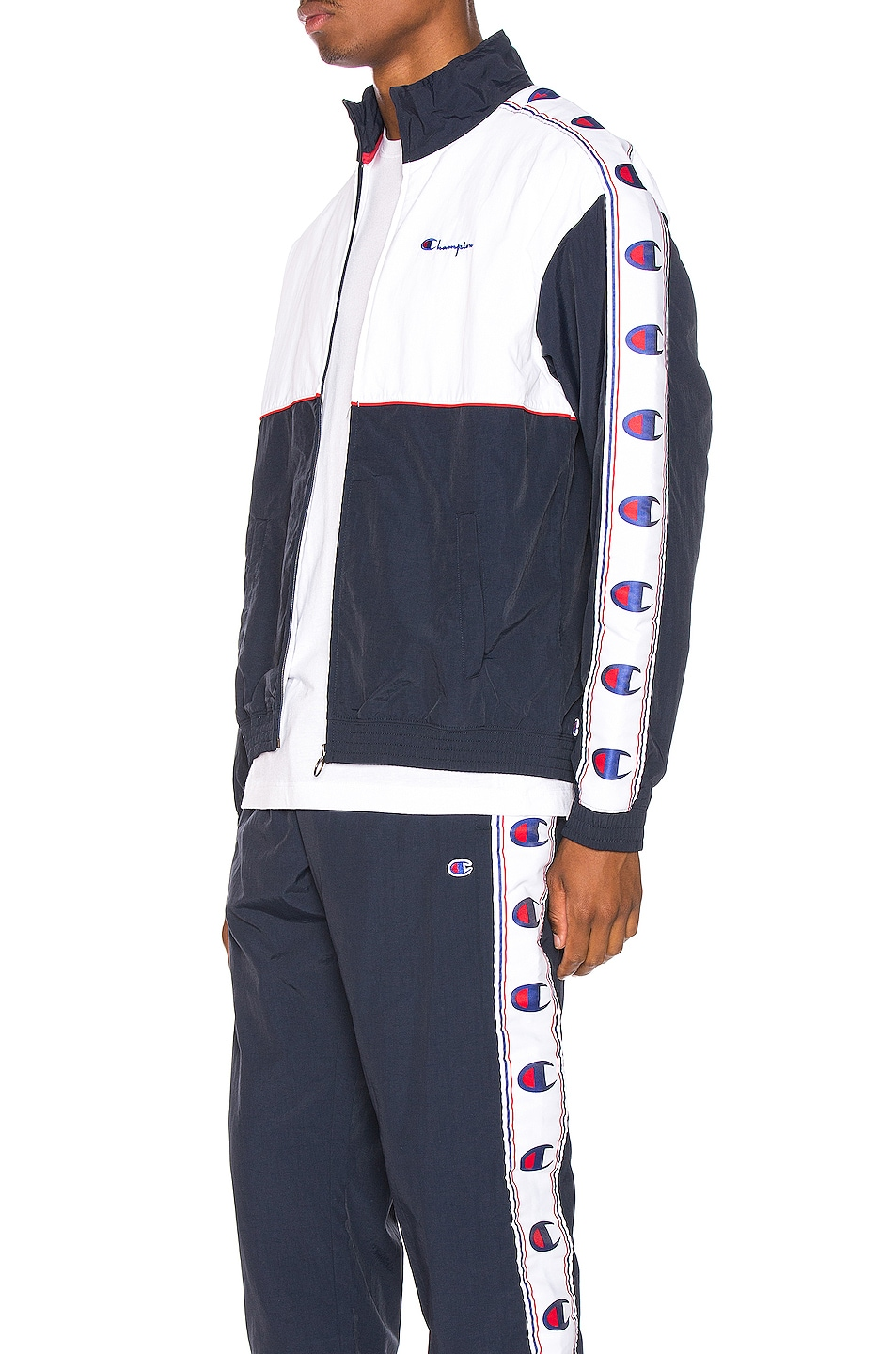 Image 4 of Champion Reverse Weave Full Zip Top in Navy & White & Red