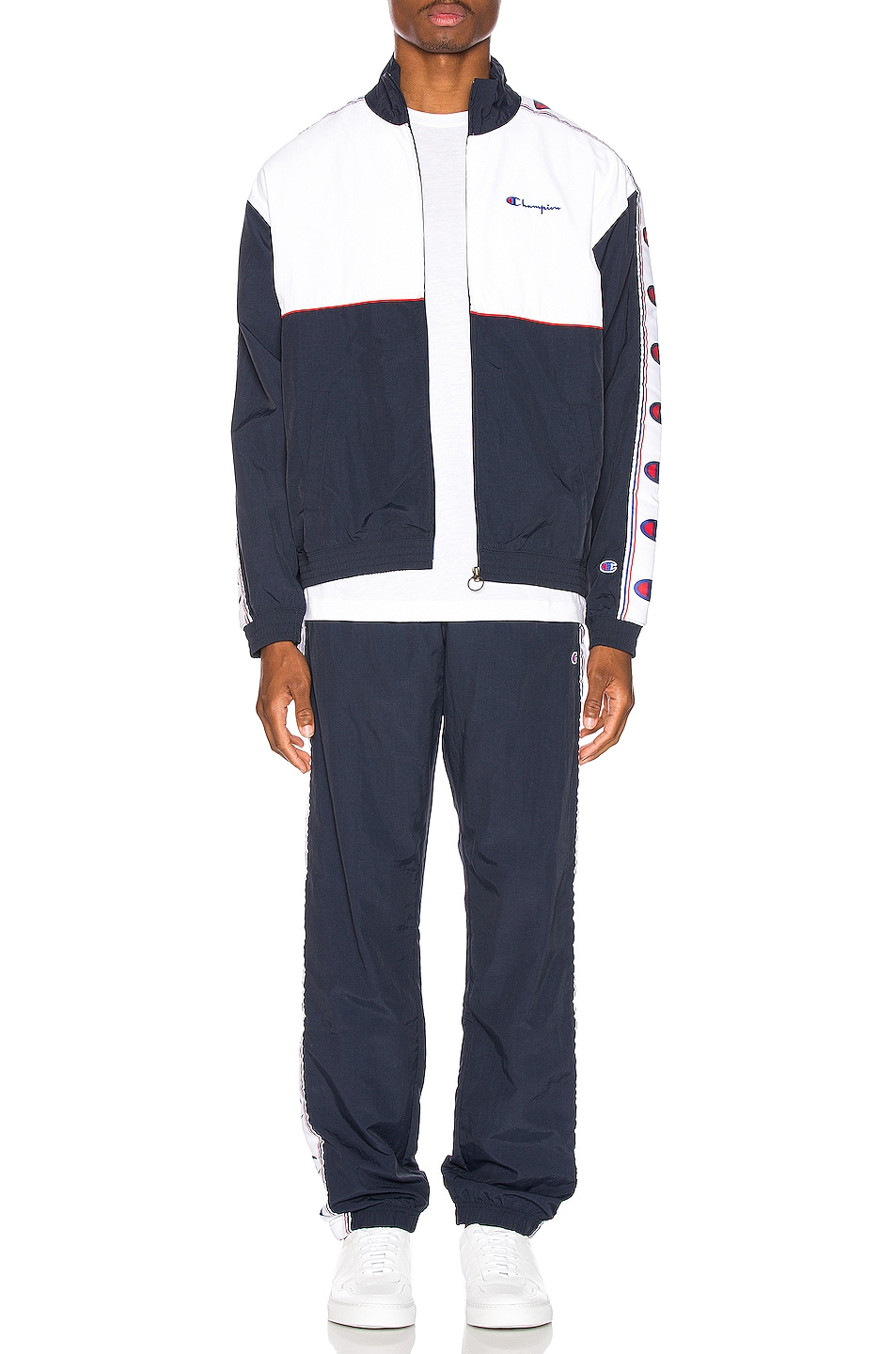 Image 6 of Champion Reverse Weave Full Zip Top in Navy & White & Red