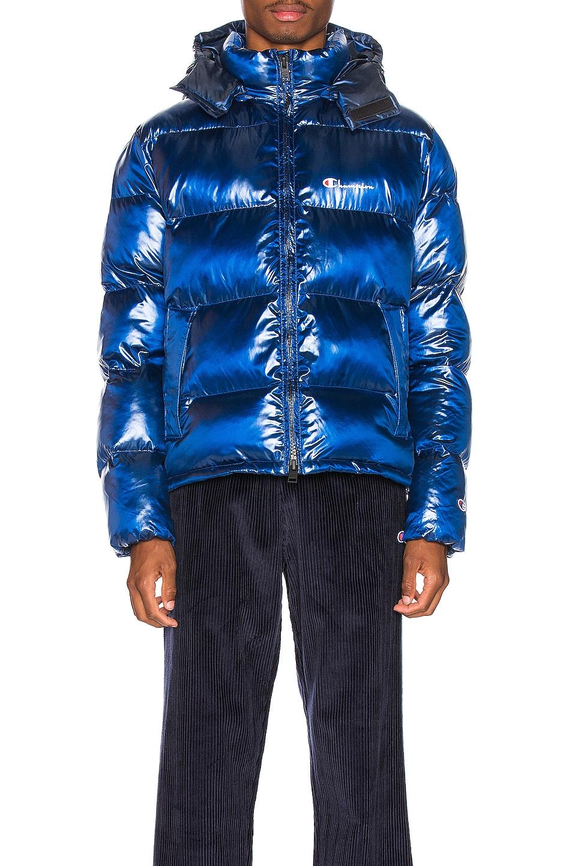 Image 2 of Champion Reverse Weave Melange Hooded Puff Ja in Blue Jay