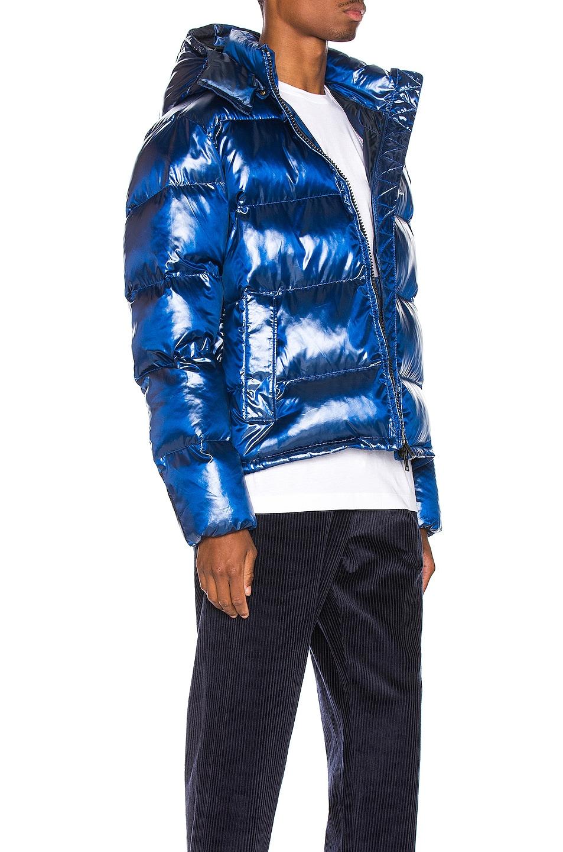 Image 3 of Champion Reverse Weave Melange Hooded Puff Ja in Blue Jay
