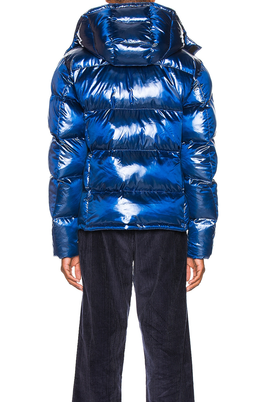 Image 5 of Champion Reverse Weave Melange Hooded Puff Ja in Blue Jay