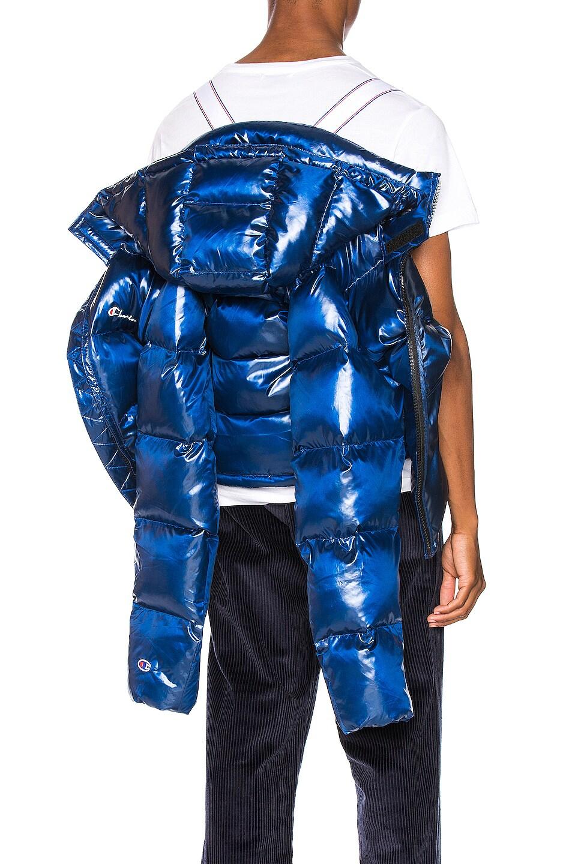 Image 7 of Champion Reverse Weave Melange Hooded Puff Ja in Blue Jay