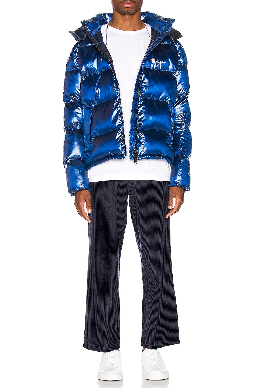 Image 8 of Champion Reverse Weave Melange Hooded Puff Ja in Blue Jay
