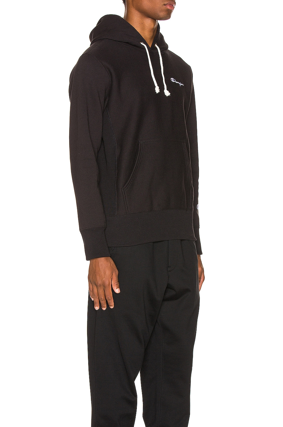 Image 2 of Champion Reverse Weave Small Script Hooded Sweatshirt in Black