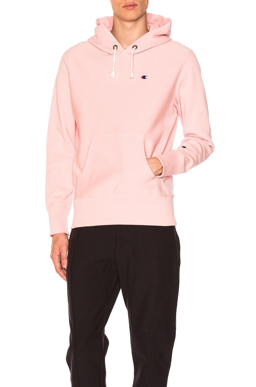 Image 1 of Champion Reverse Weave Hooded Sweatshirt in Rose