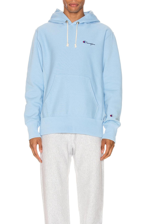 Image 1 of Champion Reverse Weave Small Script Hood Sweatshirt in Blue Bell