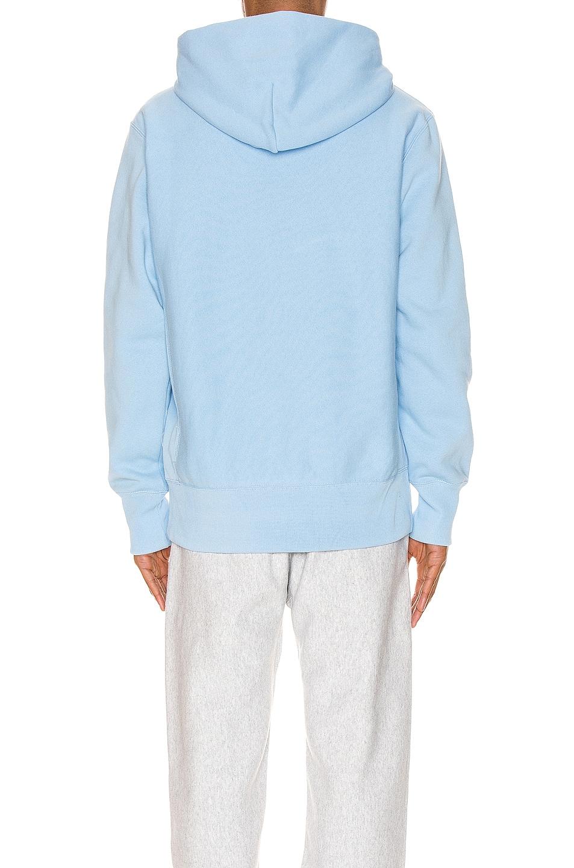 Image 3 of Champion Reverse Weave Small Script Hood Sweatshirt in Blue Bell