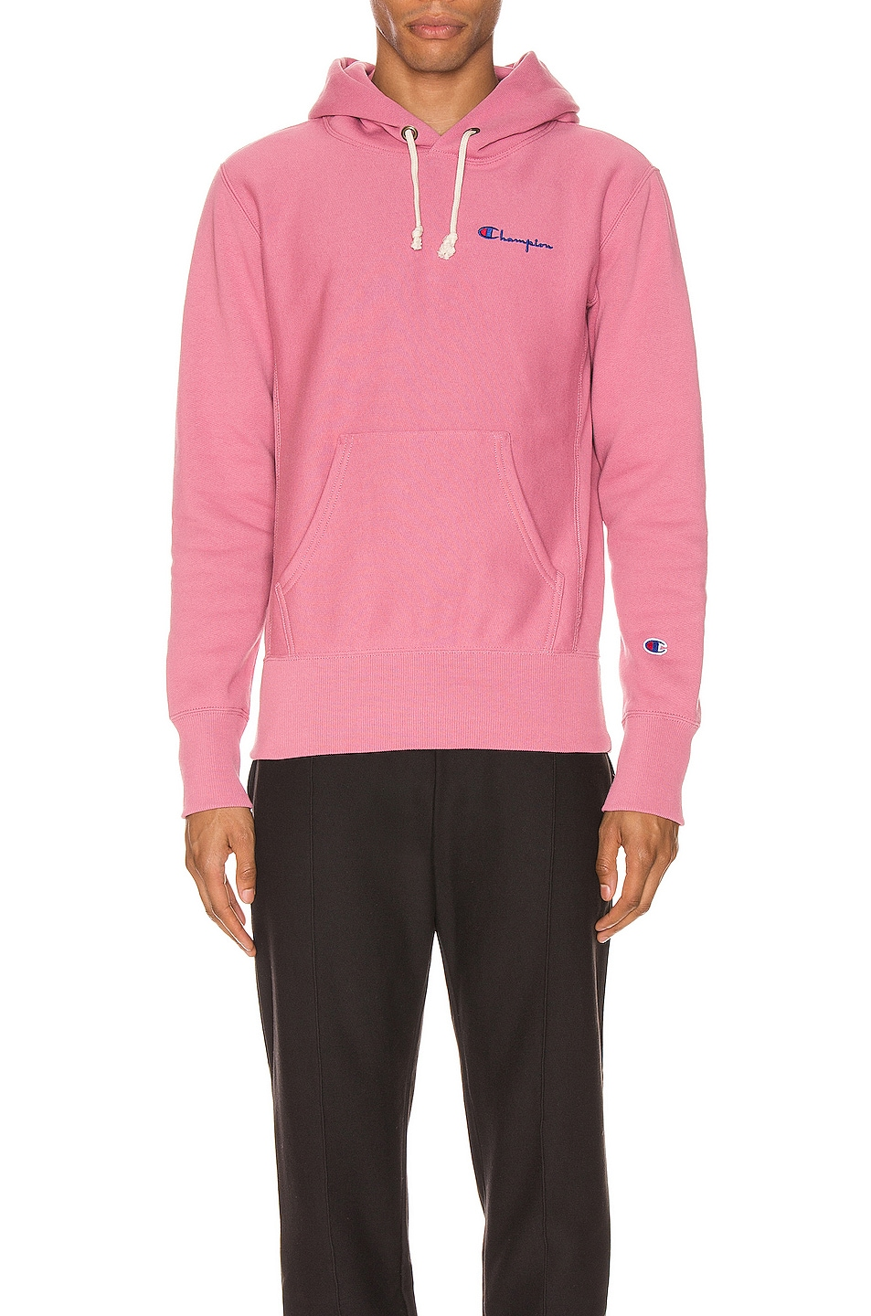 Image 1 of Champion Reverse Weave Small Script Hooded Sweatshirt in Heather Rose